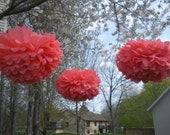 5 Tissue Pom Poms New Color CORAL
