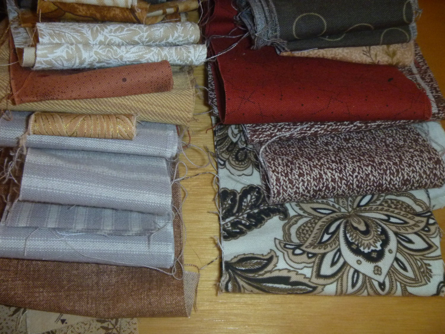 Man Cave Quilt Kit : Pre cut jelly roll brown fabric strips variety package
