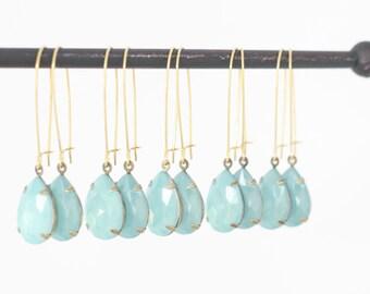 Mint Dangle Rhinestone Earrings - Mint Bridesmaid Earrings - Mint Wedding - Bridesmaid Gift - Seafoam Earrings - Mint Blue Wedding - Seafoam