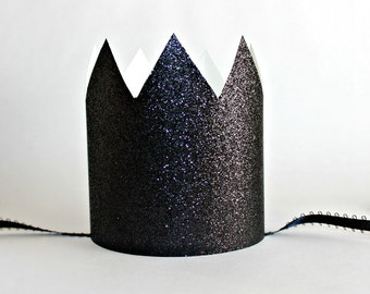 Black Paper Crowns - Set of 6 - Birthday Party Hat - Black Glitter Crown, Maleficent Party, Twinkle Little Star, Black Sparkle Party