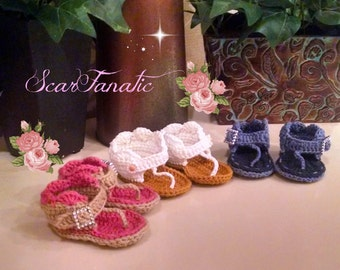 Instant Download Crochet PATTERN Easy Baby Sandals/ Shoes 3 different sizes included Photo Tutorial Permission to sell finished products