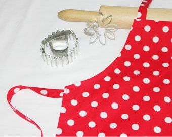 Red and White Dots Child Apron