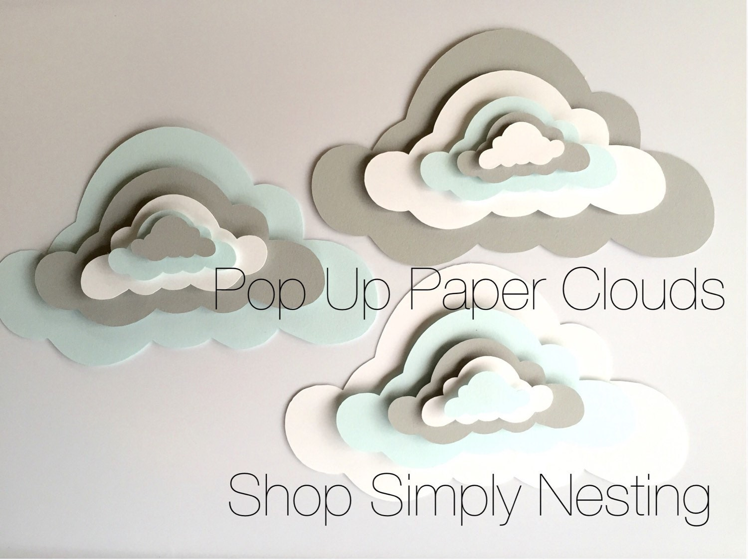 Paper Clouds Wall Decor : Pop up paper clouds cloud wall art d
