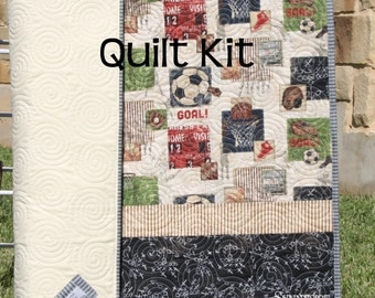 Sports Quilt Kit, DIY Do It Yourself Project, Vintage Varisty Fabric, Soccer Basketball Football Baseball, Boy Quilt Kit, Craft Project, DIY