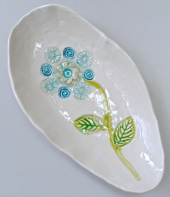 Oval serving dish, Spring Decor, hand painted flower bowl, appetizer serving dish, spoon rest, turquoise aqua,