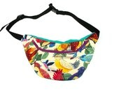 only 3 LEFT Bird of paradise bumbag fanny pack magenta ykk zip. fully lined fanny pack with key ring tab for children or adults