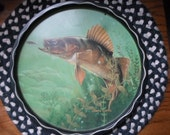 Vintage 1960s Metal Round Tray By James L. Artig  With Bass Fish Man Cave Fisherman