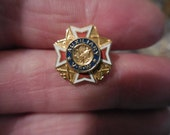 Vintage Veterans of Foreign Wars Enamel 1990s Gold Tone Tiny Pin VFW Auxiliary Red White Blue Eagles Swords Anchors Rifles Military