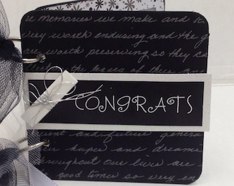 Graduation giftcard holder black and white Hats off to the Grad