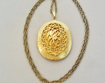 Vintage Pendant Locket Necklace Signed MATY Large Chunky Gold Plated Tone Metal Retro Runway Statement Art Deco