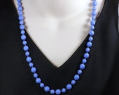 Cornflower Blue Glass Bead Necklace Set, 26 inches (66cm) Long, Vibrant Blue Hand Knotted Bead Necklace with Matching Earrings