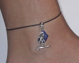 Blue sea glass anklet. Surfer anklet. Beach glass jewelry. Sea glass anklet