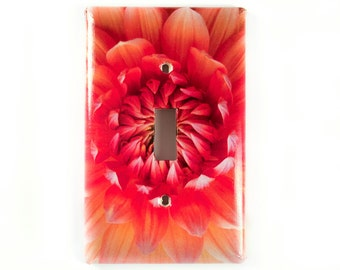 Light Switch Plates, Single Toggle, Red, Yellow, Orange Dahlia