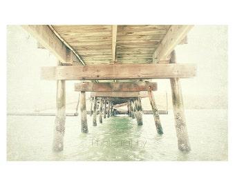 "Old Pier photo. Dock photo. nautical. sea. ocean. water. pale. blue. gray. tan. wooden. vintage. fisherman. ""Under the Pier"""