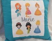 Custom Name Cover and Pillow-Disney Princesses 14x14