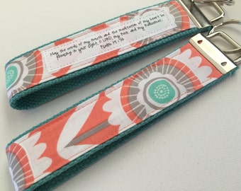 Daisy Deco on Aqua Canvas Fob:  You choose Verse or Quote