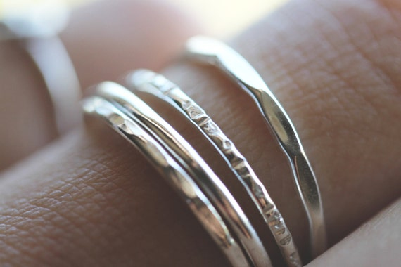 Sale . Fox Stack Ring Sets || Thick Sterling Silver Stack Rings - Sterling Silver Textured Stack Rings