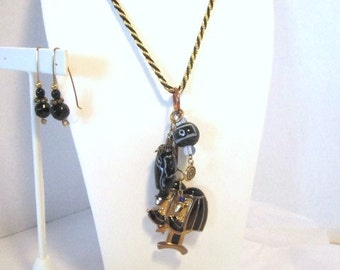Trifari Black and Gold Opera Necklace With Upcycled Trade Beads And Brooch Pendant Set