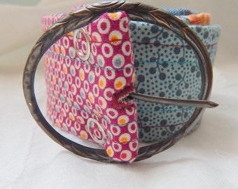 Belt, Colorful Patchwork Fabric Belt with Vintage Buckle
