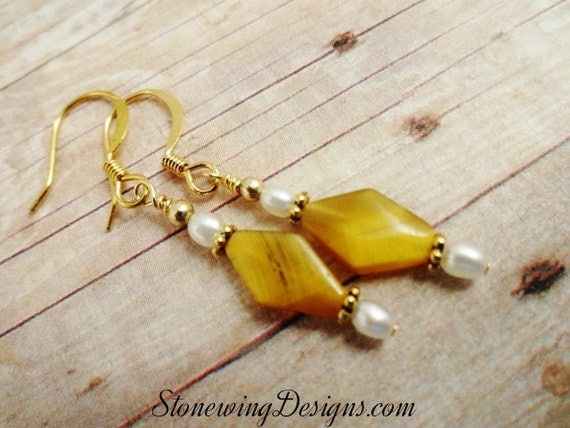 Tiger's Eye Diamonds and Freshwater Pearl Earrings