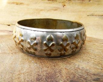 Vintage Punch Brass and Silver Bangle Bracelet