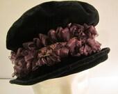 Velvet Renaissance Hat, Black velvet with Purple & Gold Ribbon Trim