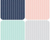 Design Your Own -Herringbone  in Navy, Pink, Aqua and Grey- changing pad cover, rail covers, boppy covers, crib sheet, crib skirt, bumpers