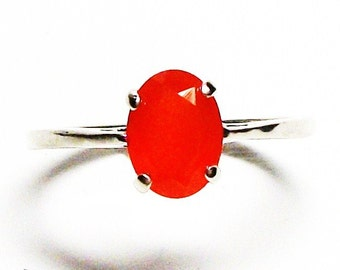"Carnelian ring, solitaire ring, orange ring, s 6 1/4    ""She's got spunk"""
