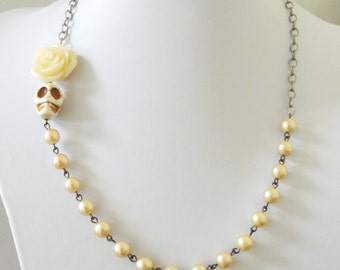 Day Of The Dead Necklace Sugar Skull Wedding Jewelry Ivory Off White Rose