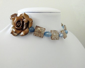 Day of the Dead Necklace Rose Choker Memory Wire Rose Bronze Brown Blue