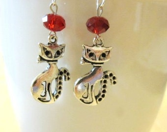 Sophisticated Kitty Cat Red Crystal Dangle Earrings