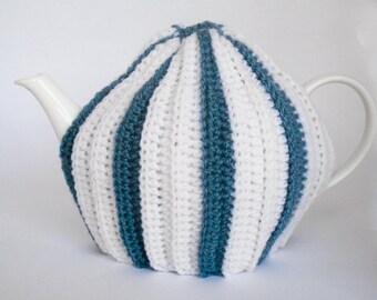 Tea Pot Cozy, Crochet Tea Cosie, Striped Tea Cosy, Teal and Cream Wool Tea Cosy, Tea Pot Cover, Tea Cozie, Tea Pot Cosie, Tea Pot Cozie