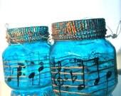 set of 2 jar lantern, painted glass,music lanterns, blue , recycled glass, gift ideas