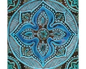 Garden decor // Garden art // Ceramic tiles // Outdoor Wall Art // Yard art // Decorative wall tiles // Mandala #5 // 30x30cm // Turquoise