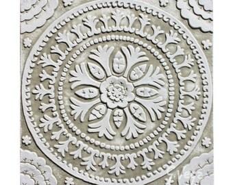 Decorative tiles // Ceramic tiles // Bathroom tiles // Handmade tiles // Kitchen tiles // Wall tiles // Suzani #4 // 30x30cm // White