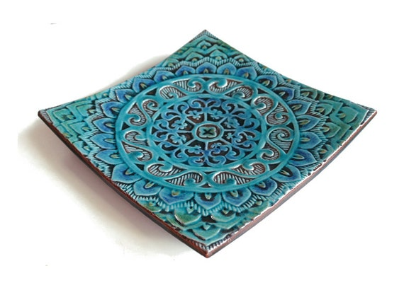 mandala bowl - decorative vessel made from ceramic - mandala#1 ceramic bowl