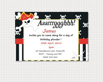 Pirate Birthday Invitation Printable Personalized