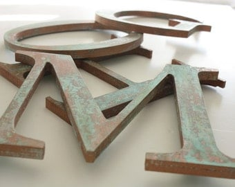 "Faux Copper Patina 8"" wooden letter- YOU CHOOSE LETTER"