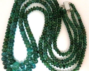285ct Natural (2) Stranded Emeralds Bead Clasp Necklace 14KT