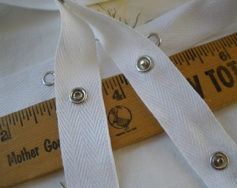 """Snap Tape White Cotton Twill silver metal 3/4"""" wide BTY fasteners By the Yard cool hanger trim crafts 2"""" spaced .25"""" snaps yardage"""