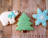 Christmas Cookies - Polar Bear Snowflake Christmas Tree - Iced Holiday Sugar Cookies - 1 Dozen