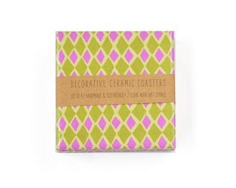 Colorful Diamonds Coasters Geometric Hot Pink Pistachio Green Ceramic Tile Drink Coasters