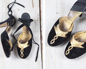 1930s shoes/ 30s velvet and gold leather dancing heels
