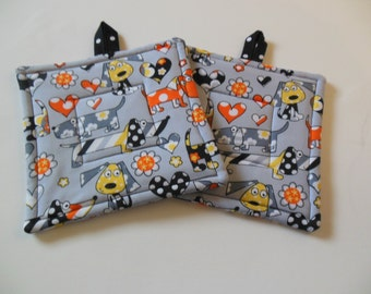 Pups and Flowers Potholders