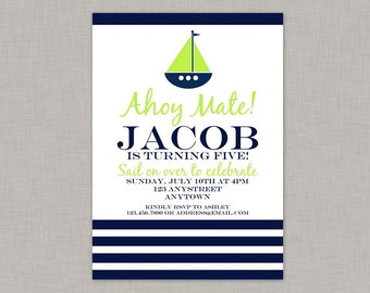 Nautical Invitation, Nautical Birthday Invitation, Nautical Birthday Party