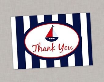 Nautical Thank You Card, Nautical Birthday, Nautical Baby Shower, Printable Thank You Card