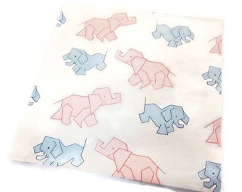 Vintage Wrapping Paper - New Babies Blue Pink Graphic Elephant Gift Wrap - Dennison Gift Wrap