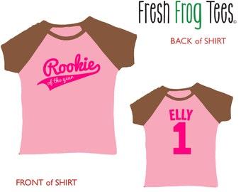 Girls Baseball Tee birthday number jersey shirt any age - 3/4 sleeves raglan sizes 2-12 - many color choices!