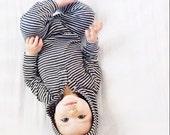 Grey Stripe Hooded Onesie - Romper - Baby Sizes