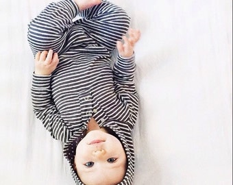 Grey Stripe Hooded Onesie - Romper - Baby Sizes
